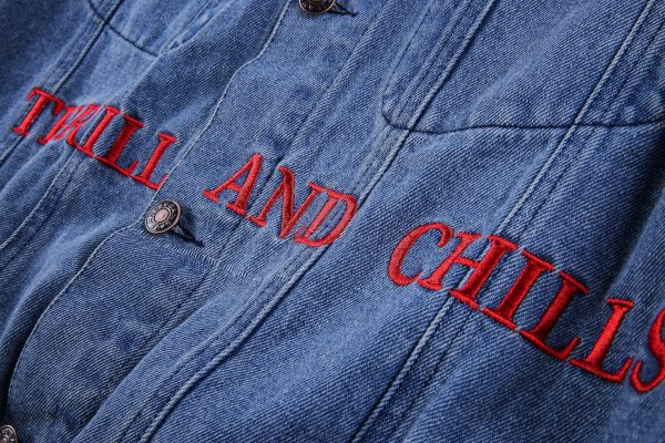 Astroworld Denim Levis Jacket close closeup