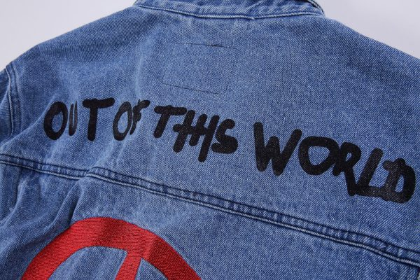 Astroworld Denim Levis Jacket back closeup