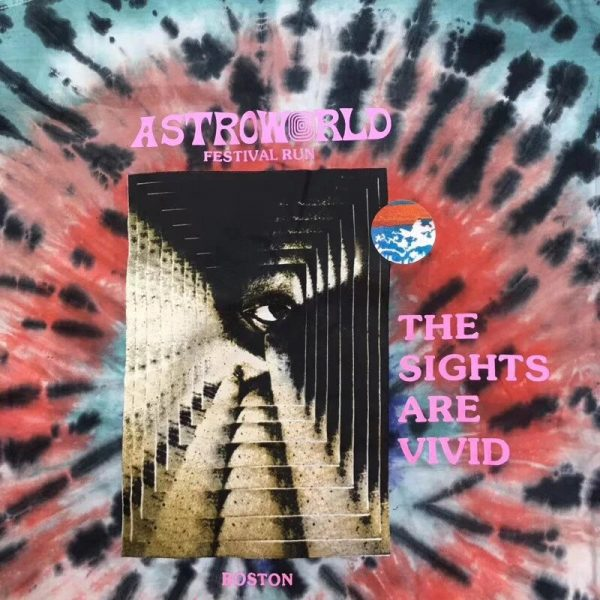 The sights are vivid tie dye print