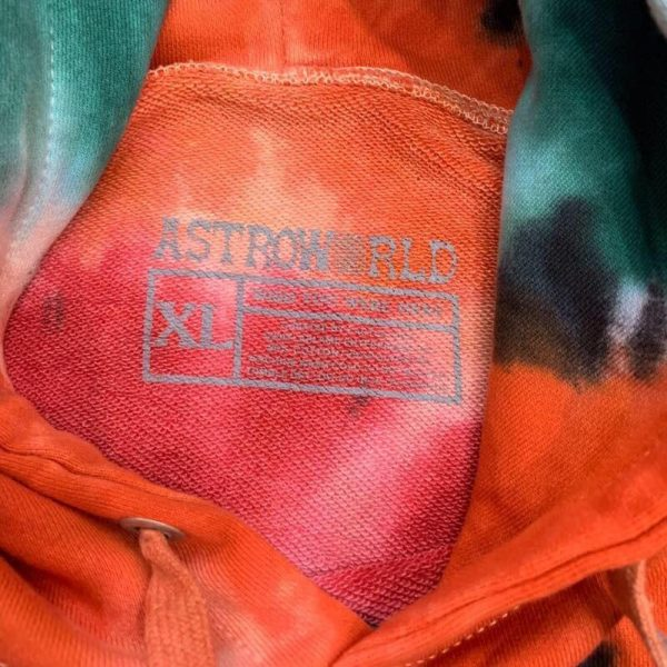 Astroworld Europe Tour Tie Dye Hoodie Tag