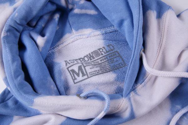 Tour Astronaut Blue Tie Dye Hoodie Tag