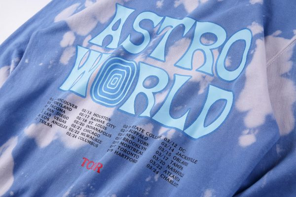 Tour Astronaut Blue Tie Dye Hoodie print dates