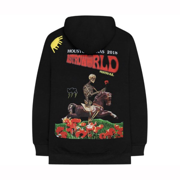 Astroworld festival skeleton horse hoodie back